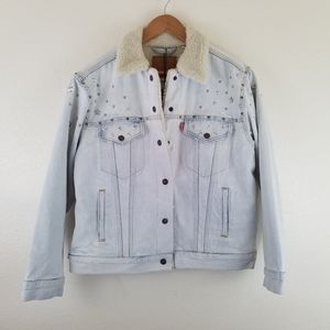 Levi's Studded Trucker Sherpa Lined Denim Jacket